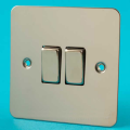 Varilight 2 Gang 10A 1 or 2 Way Rocker Light Switch Ultra Flat Mirror Chrome XFC2D
